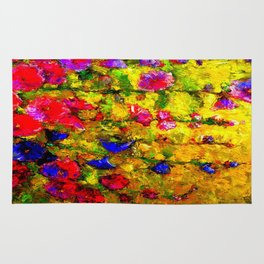 Red And Purple Hollyhocks Painting Rug