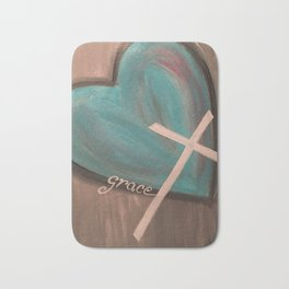 Grace Heart Cross Bath Mat