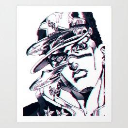 Jotaro Kujo from Jojo's bizarre adventure affected by Whitesnake Art Print