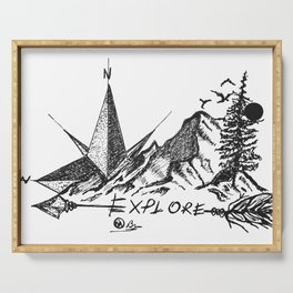"""""""Explore More"""" Hand-Drawn by DarkMountainArts Serving Tray"""