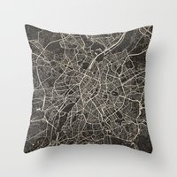 brussels Throw Pillows featuring brussels map ink lines by NJ-Illustrations
