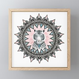 White Tiger Sapphire and Rose Mandala Framed Mini Art Print