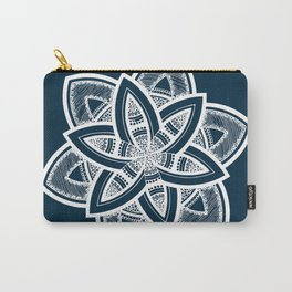 Authentic white mandala on blue Carry-All Pouch
