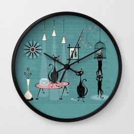 Mid Century Kitty Mischief - ©studioxtine Wall Clock