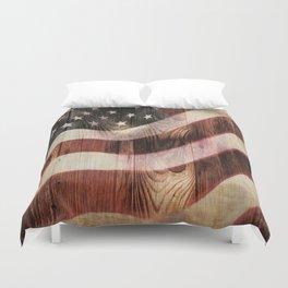 AMERICAN FLAG WOODEN Duvet Cover
