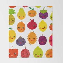 kawaii fruit Pear Mangosteen tangerine pineapple papaya persimmon pomegranate lime Throw Blanket