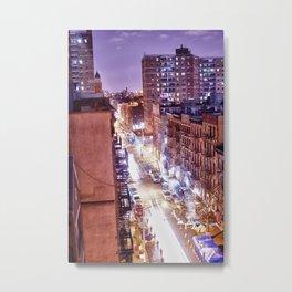 NY Street at Night Metal Print