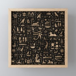Ancient Egyptian hieroglyphs - Black and gold Framed Mini Art Print