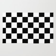 Checker Cross Squares Black & White Rug