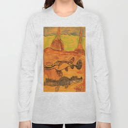 Painted Gar & Alligator Long Sleeve T-shirt