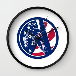 American Lineworker USA Flag Icon Wall Clock