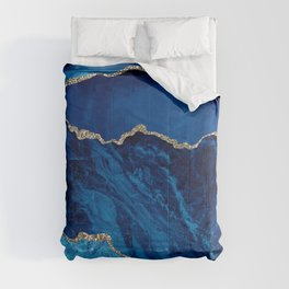 Exotic Royal Blue & Aqua Crushed Marble With Glitter Veins Comforters