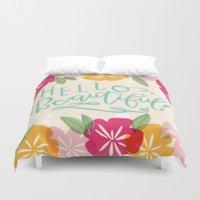 hello beautiful Duvet Covers featuring Hello Beautiful by Jasmine Nora Jones