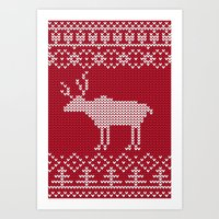 reindeer Art Prints featuring  Reindeer by Julia Badeeva