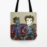 resident evil Tote Bags featuring playing resident evil by Toubab