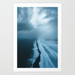 Moody Black Sand Beach in Iceland - Landscape Photography Art Print