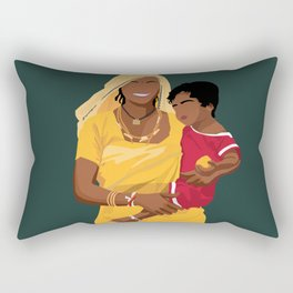 Mother and Child 2 - Indian Mother Wearing Saree and Child Rectangular Pillow