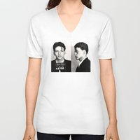 frank sinatra V-neck T-shirts featuring Frank Sinatra Mug Shot  by All Surfaces Design