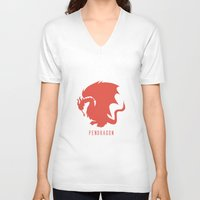 merlin V-neck T-shirts featuring Pendragon symbol, Merlin by carolam