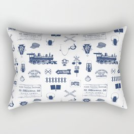 Railroad Symbols // Navy Blue Rectangular Pillow