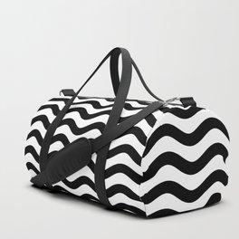 Waves (Black & White Pattern) Duffle Bag
