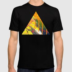 Wave yellow Black MEDIUM Mens Fitted Tee