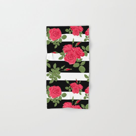 Red roses with horizontal stripes black white Hand & Bath Towel