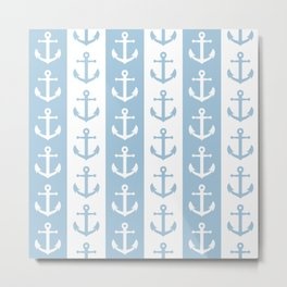 Nautical Sailor Stripes with Anchor Pattern Pale Blue 241 Metal Print