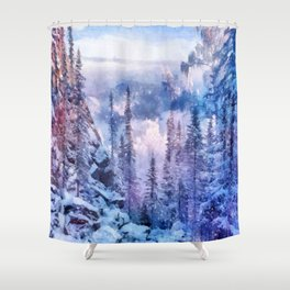 Winter forest in the mountains II Shower Curtain