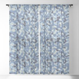 Blue Army Camouflage Sheer Curtain