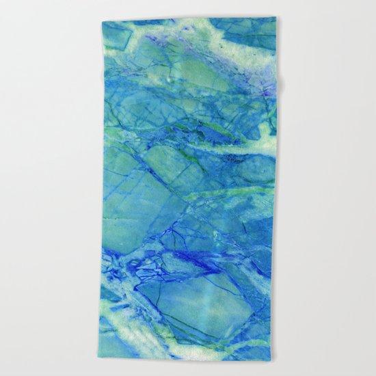 Sea blue marble Beach Towel