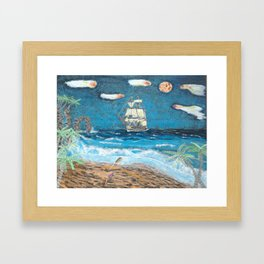 HMS Victory in paradise Framed Art Print