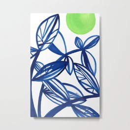 Navy blue and lime green abstract leaves Metal Print