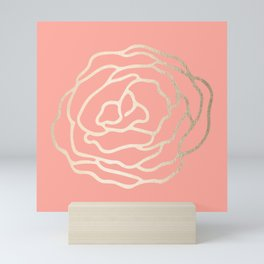 Flower in White Gold Sands on Salmon Pink Mini Art Print