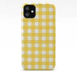 White & Yellow Gingham Pattern iPhone Case