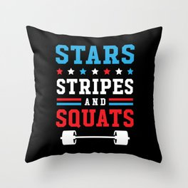 Stars, Stripes And Squats v2 Throw Pillow