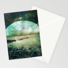 Green Mystic Lake : Fantasy Moon Landscape Stationery Cards