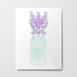 Lavender in Mason Jar Metal Print