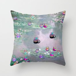mini owl 613 Throw Pillow