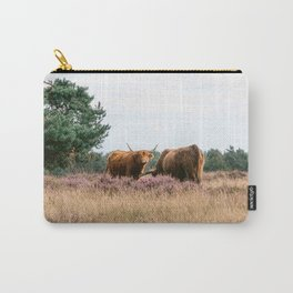 Two grazing Wild Scottish Highlander cows in national park   Cattle in Nature   Veluwe park, the Netherlands   Travel photography Carry-All Pouch