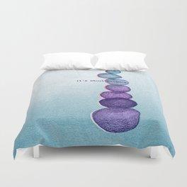 It's About Balance - purple & mint ombre sketch illustration Duvet Cover