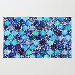 Colorful Teal & Blue Watercolor & Glitter Mermaid Scales Rug