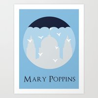mary poppins Art Prints featuring Mary Poppins by Citron Vert