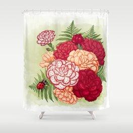 Full bloom | Ladybug carnation Shower Curtain