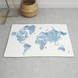 """Blue watercolor world map with outlined countries, """"Vance"""" Rug"""