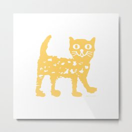 Yellow cat drawing, yellow cat pattern, yellow cat design Metal Print