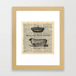 french dictionary print jubilee crown western country farm animal sheep Framed Art Print