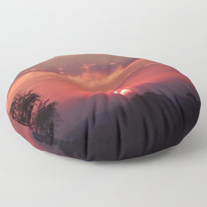 Sweet Pink Orange Sunset Floor Pillow
