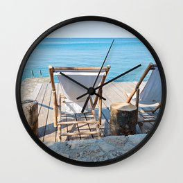 Wooden floor with chaise-longues and bue sea in Istria, Croatian coast Wall Clock