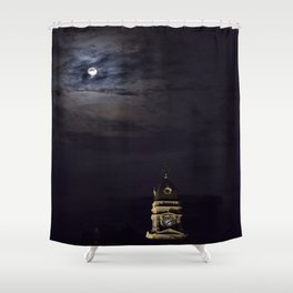 Gloucester City Hall and the full moon Shower Curtain
